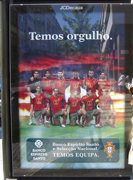 ポルトガル代表2Banco Espirito Santoの広告2004年7月ポルトの街中にて