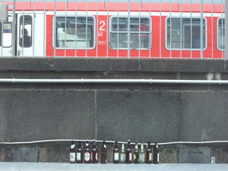 ボーフム駅脇のビール瓶