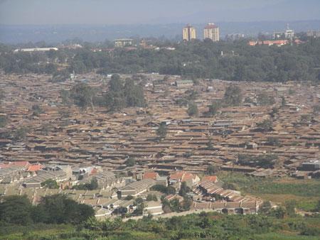 飛行機から見たスラム街