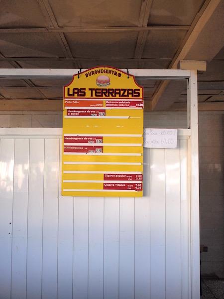 las terrazasのメニュー表