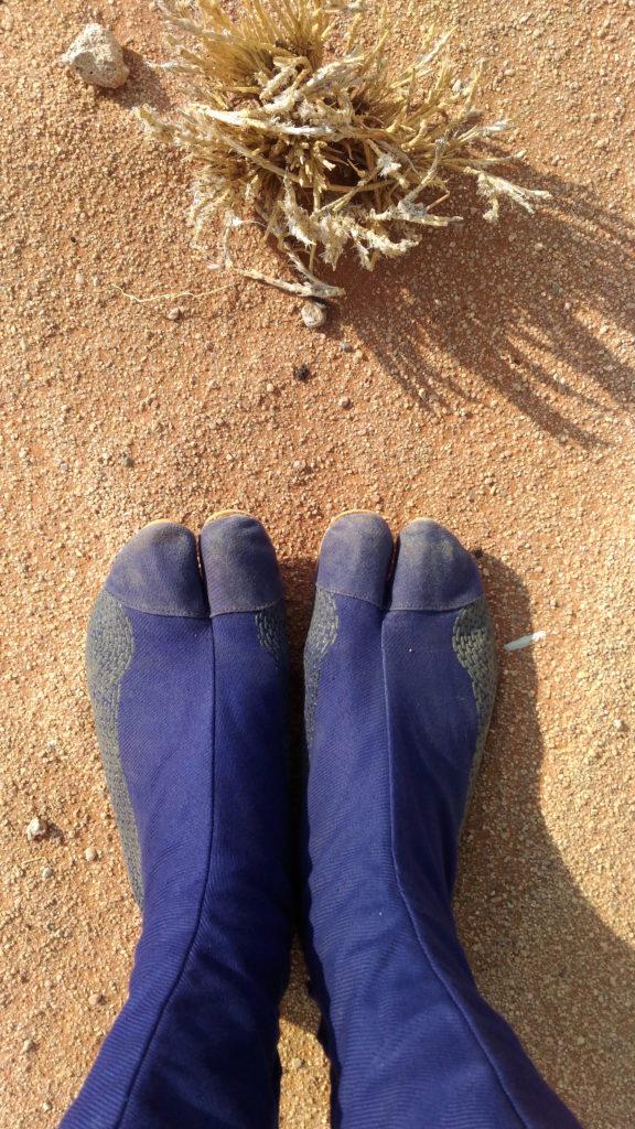 砂漠には地下足袋がベストという結論