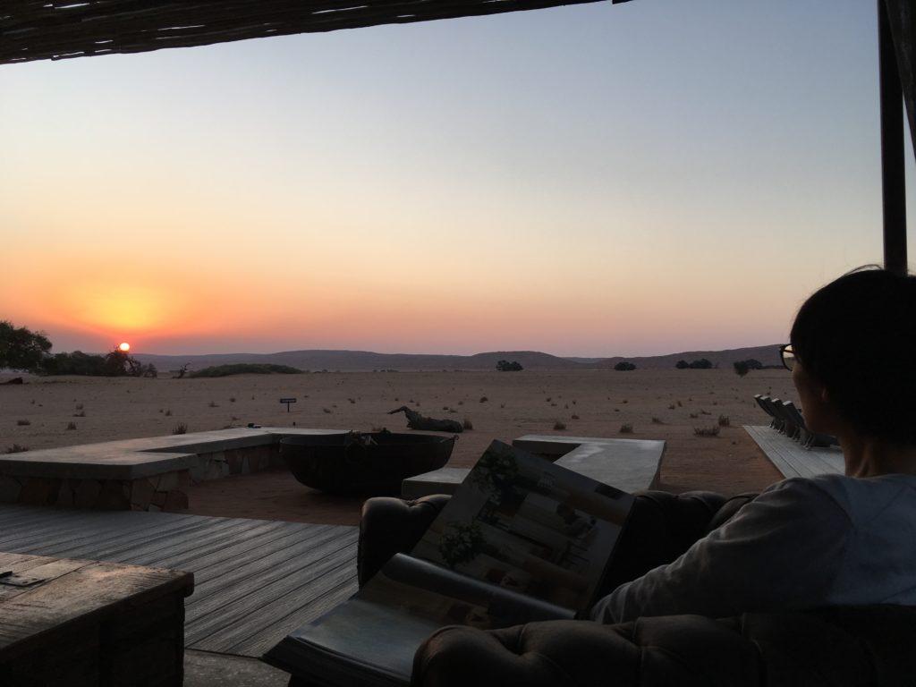 ナミブ砂漠の夕陽