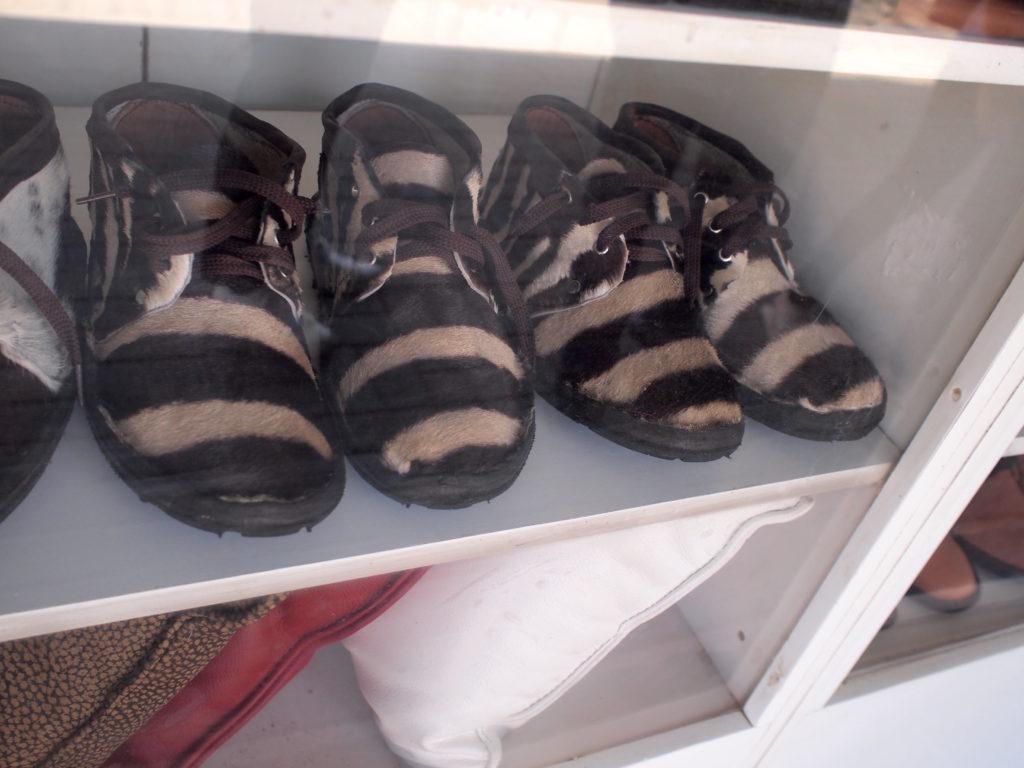 シマウマ革の靴